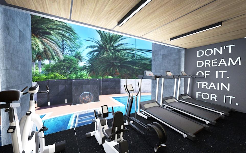 Спорт зал с видом на бассейн